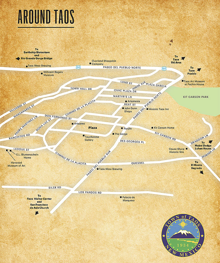 Taos Map - New Mexico